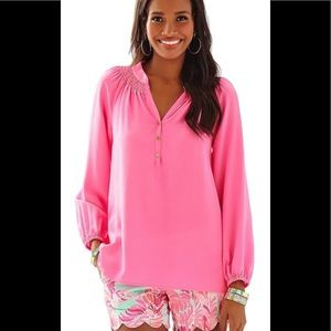 Lilly Pulitzer Elsa salmon pink silk blouse